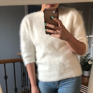 Sweaters - Vintage Angora/rabbit hair fuzzy puff sleeve